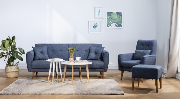 Fi Cappy Sofa Set Navy Blue
