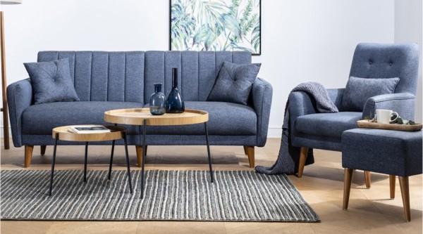 Fi Line Sofa Set Navy Blue