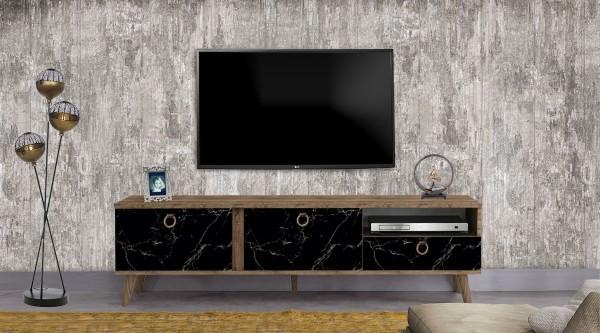 Stella Tv Sehpası Siyah Mermer