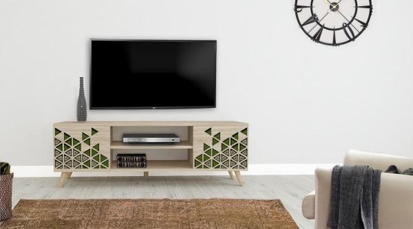 Truva Tv Sehpası Yeşil Üçgen